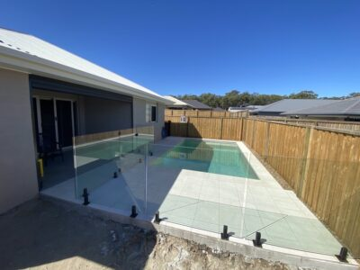 Full glass pool fence with gate + black hardware